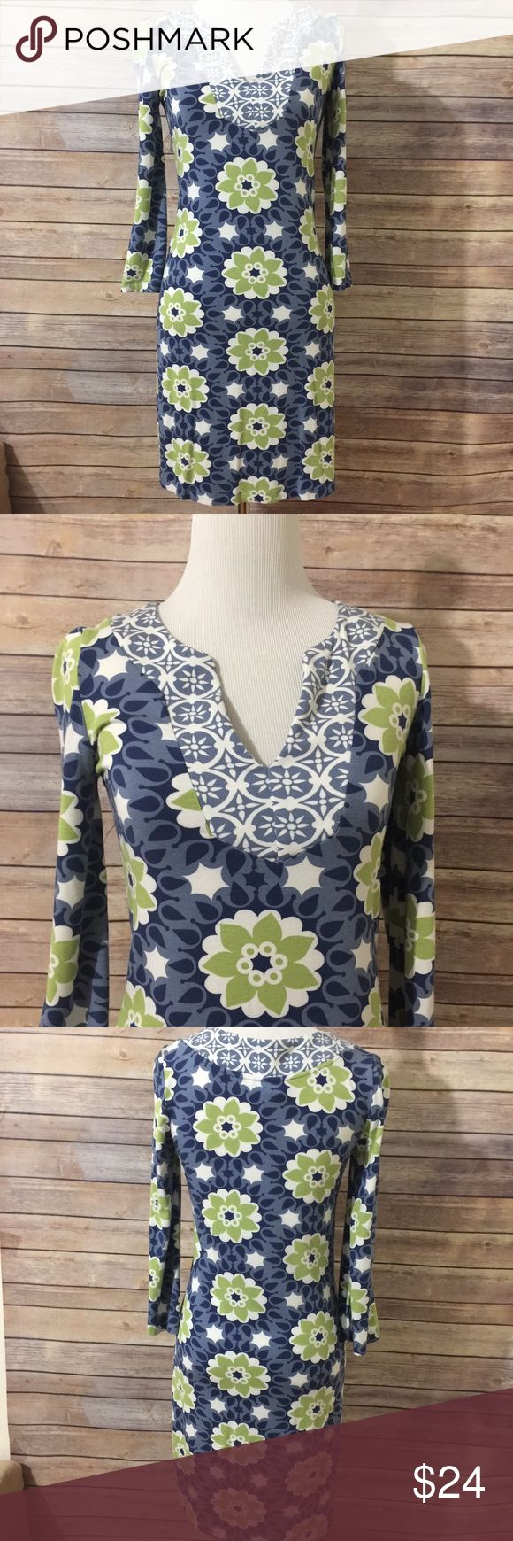 "Boden 3/4 sleeve Print Dress sz 2 Super cute in shades of blue, green and white. 3/4 sleeves sz 2. Laying flat the bust measures 15"" from underarm to underarm. Overall length is 35"". Great preowned condition. D55 Loc Boden Dresses"