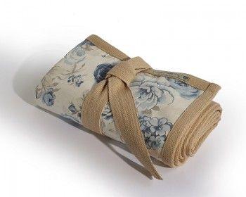 Blue rose rug folded