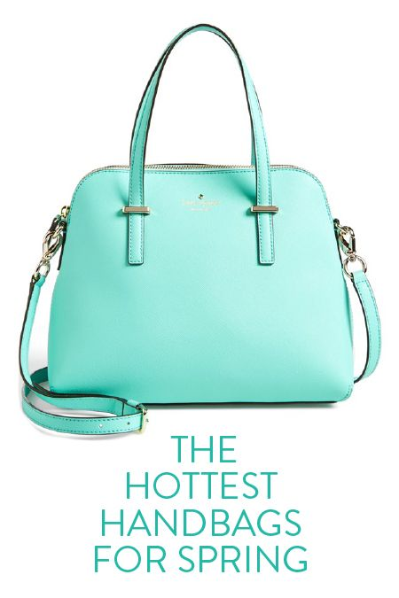 In love with this mint Kate Spade satchel. The perfect turquoise handbag for spring. It's the perfect size, has room for all the essentials (wallet, keys, sunglasses, etc), and the cross-body strap is awesome for when you want your hands free. Comes in six colors, too!