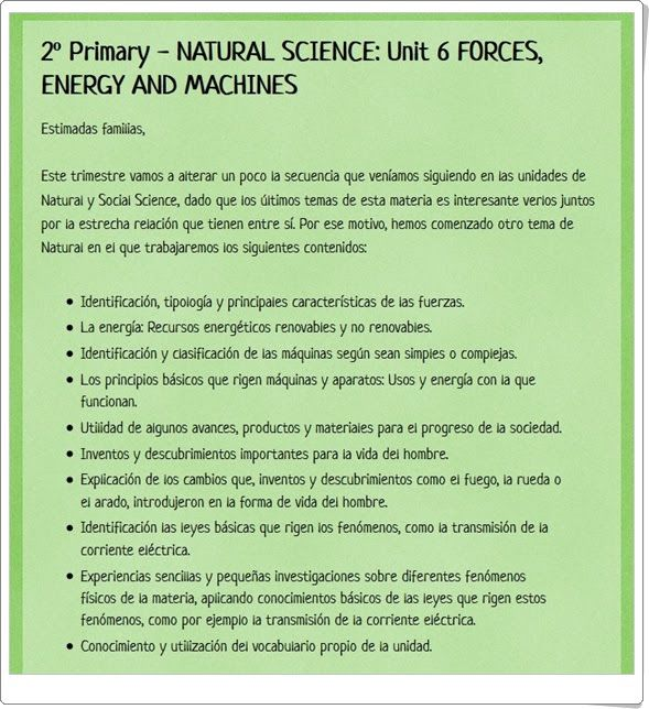 "Unidad 8 de Natural Science de 2º de Primaria: ""Forces and energy"""