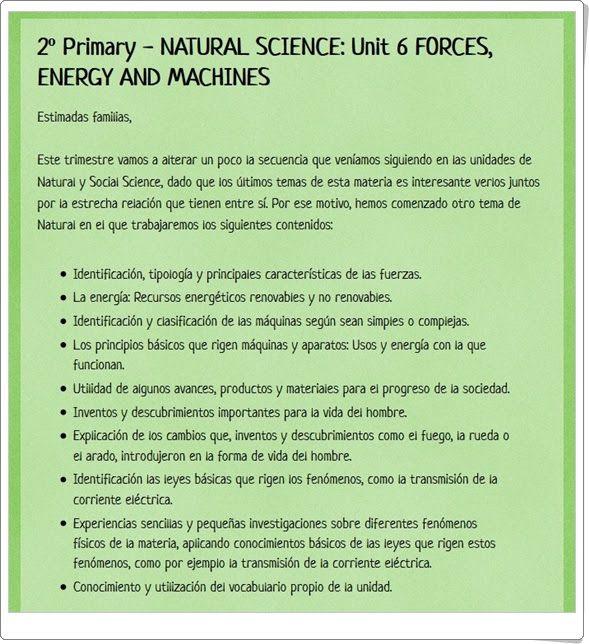 "Unidad 8 de Natural Science de 2º de Primaria: ""Forces and energy"""