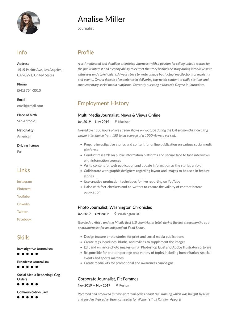 Journalist Resume Template Resume Writing Guided Writing Resume Guide
