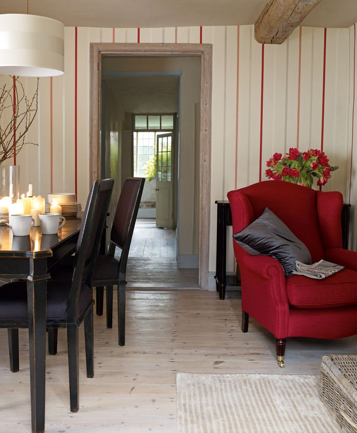 Draycott Cranberry Stripe Wallpaper
