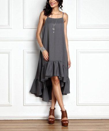Another great find on #zulily! Gray Chiffon Ruffle-Hem Hi-Low Midi Dress #zulilyfinds