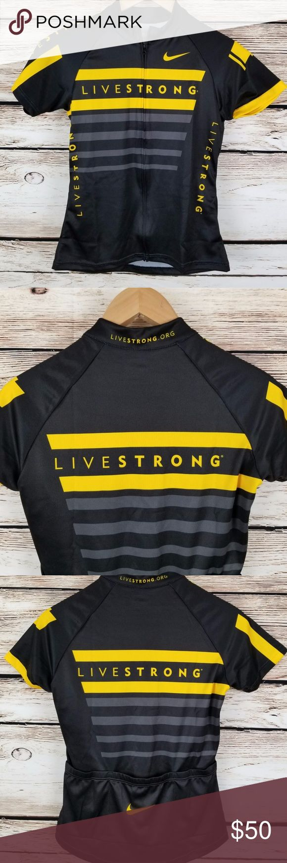 Nike Livestrong Womens Cycling Jersey Small Full Zip  Black & Yellow Swoosh  New with tags Nike Tops