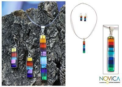 Dichroic art glass jewelry set, 'Rainbow'. Shop from #UNICEFMarket and help save the lives of children around the world.