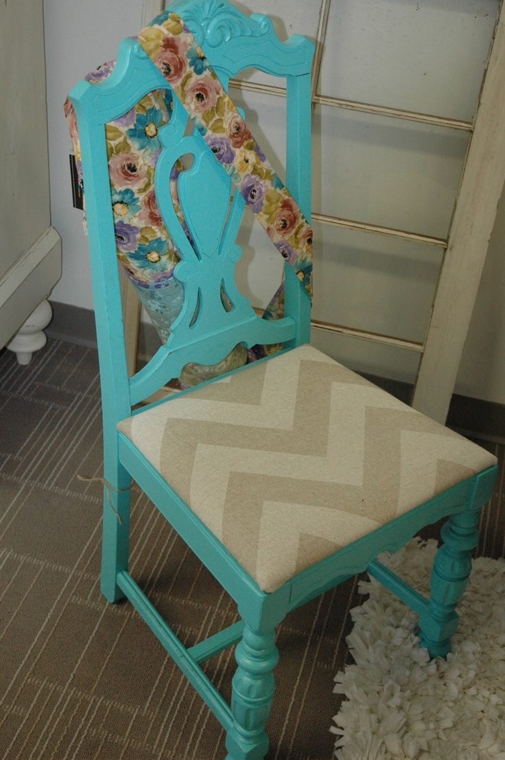 Chevron wing chairs - Teal Chair With Chevron Linen Seat 105
