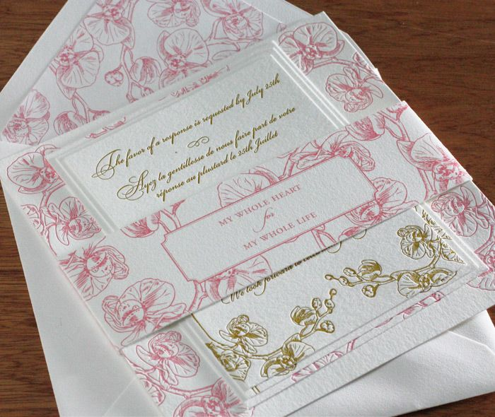 Vintage pink and gold orchid wedding invitation set for a spring wedding.  | Invitations by Ajalon | invitationsbyajalon.com
