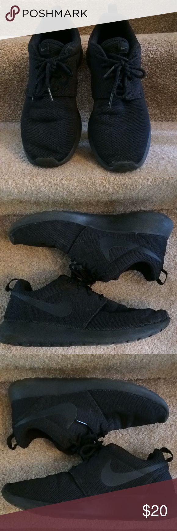 Nike Roshe Black size 8 Black logo on black. Worn once. Mended hole in top of right shoe (I fell over!) otherwise like new! A lot of wear left in these shoes. Nike Shoes Athletic Shoes