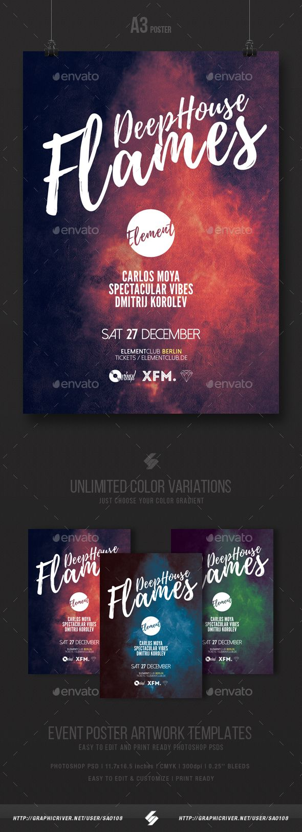 Poster design template psd - Deep House Flames Party Flyer Poster Template A3