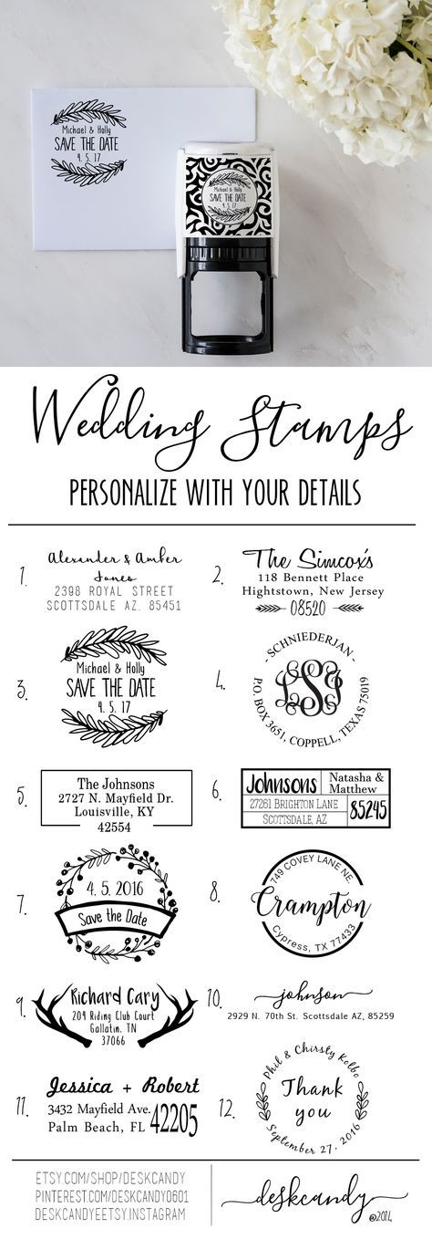Rustic Return Address Stamps. Perfect touch to your rustic wedding invitations
