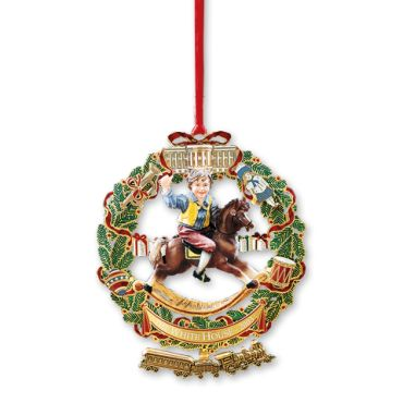 2003 White House Christmas Ornament, A Child's Rocking Horse - The White House Historical Association's 2003 ornament honors President Ulysses S. Grant and his family. Inspired by an authentic Victorian illustration of a child's joy at Christmas. Toys available at Washington's fancy goods stores during the Grant administration (1869-77) adorn a wreath as a steam locomotive swings below.