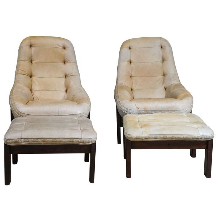 Great Pair Of Leather Chairs And Ottomans | From A Unique Collection Of  Antique And Modern
