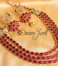 Buy GORGEOUS KEMP ROYAL PEACOCK MUGAPPU 3 ROW NECKLACE SET punjabi-jewellery online