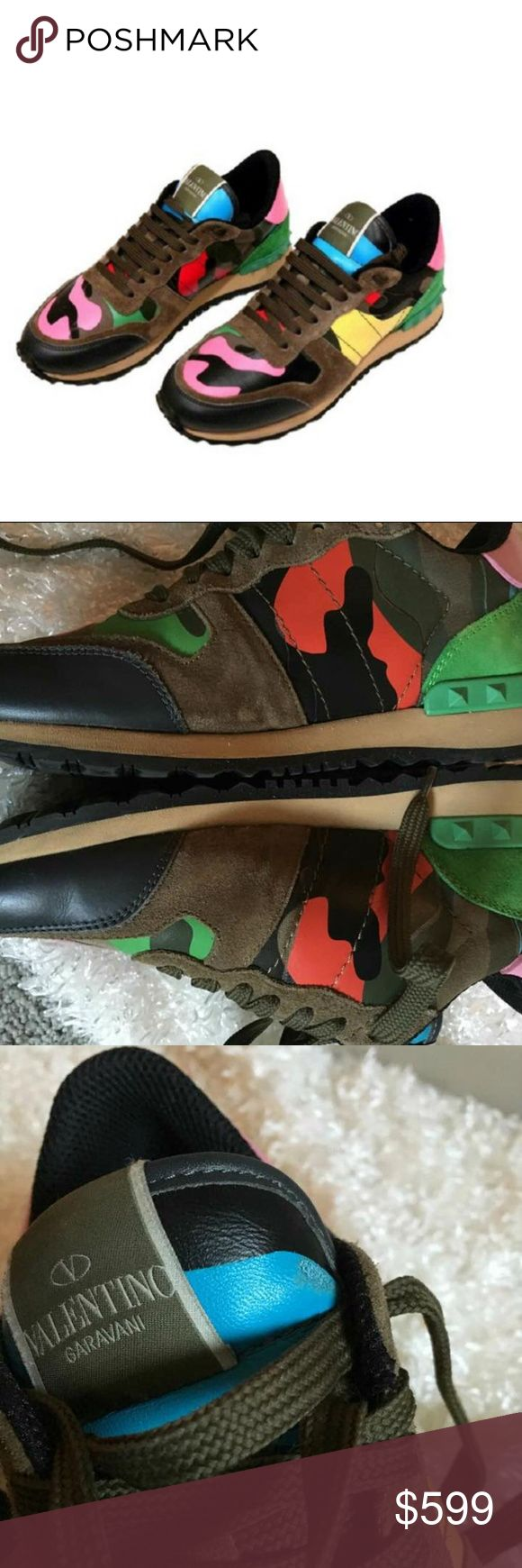 """VALENTINO- Mixed Media Camo Sneakers- MSRP $1,295 100% Authentic- Purchased for $1,295  A fun print adds edge to these colorful lace-up kicks with rich suede and leather panels. Suede, leather and canvas upper. Leather lining. Rubber sole. Padded insole. Made in Italy. .5"""" Platform height Dust bag not included Some exterior scuffs- worn three times. good condition. Marks on Tongues of shoe can't be seen when worn... Look like BRAND NEW when worn! Perfect condition on the bottom Valentino…"""