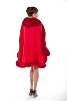 Red Cashmere Capes,Cashmere Capes,Fur Trimmed Cashmere Capes sold at MAM! $795 (click picture to see front view)