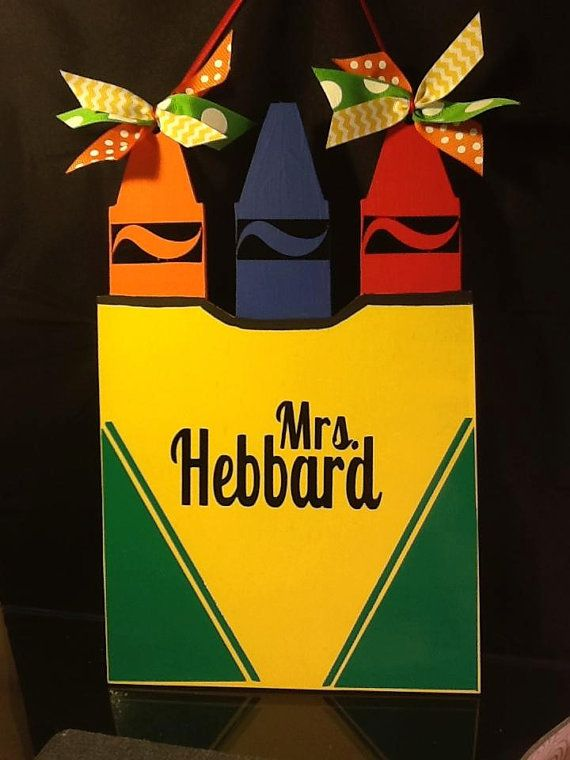 Crayon Box Door Hanging, door hanger, wall hanging, gift, decor, teacher, 14 inches tall, bedroom door, school on Etsy, $30.00