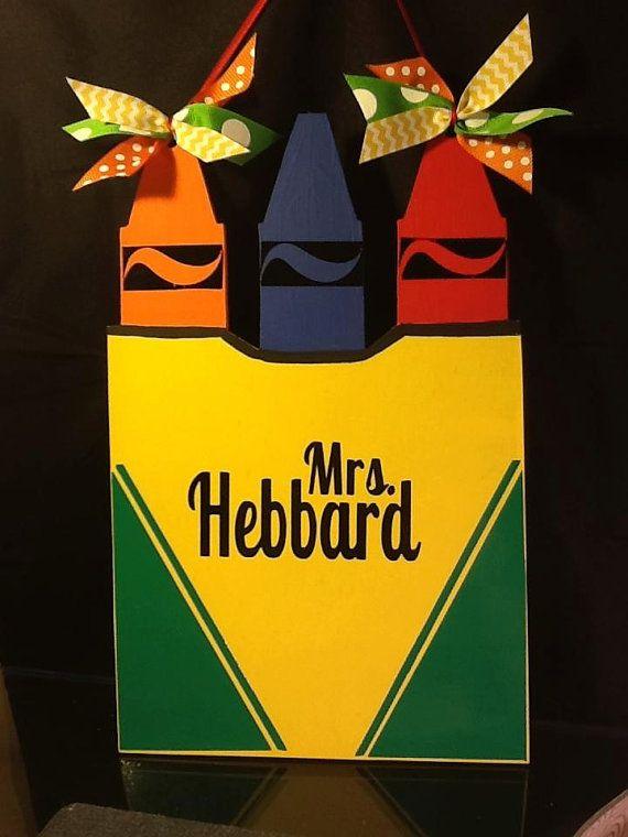 Crayon Box Door Hanging, door hanger, wall hanging, gift, decor, teacher, 14 inches tall, bedroom door, school on Etsy, $30.00