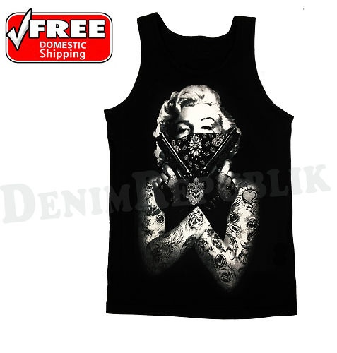 New Marilyn Monroe Tattooed Bandana Gun Pose Mens Tank Top Mens Black T Shirt | eBay