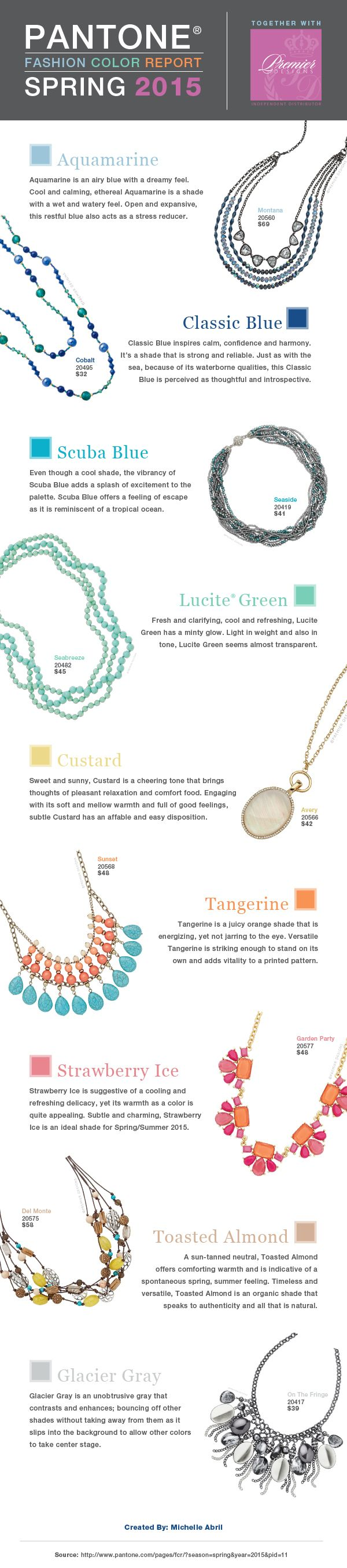 Pantone's Spring 2015 Color Report combined with Premier Designs jewelry. #PremierDesignsJewelry #Spring2015 #Pantone