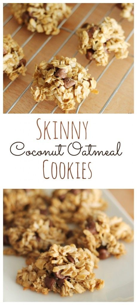 Skinny Coconut Oatmeal Cookies on SixSistersStuff.com | These flourless cookies taste amazing and are a healthy, easy-to-make alternative.