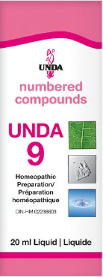 Unda 9  Nervous System Undfa 9 is indicated for psychic debility, nervous exhaustion, prolonged mental strain and conflict, depression due to stress, neurasthenia and neurosis.