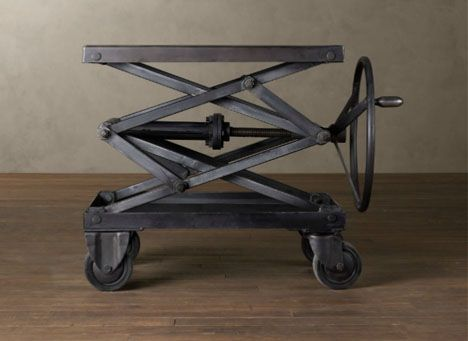 Metal Scissors Lift Table   Love The Crank! Anyway I Could Put This On A