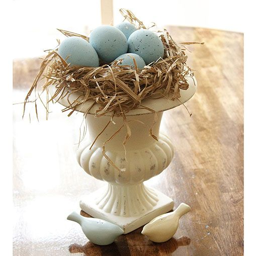 robins' egg nest in urn