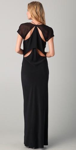 Shopbop...T by Alexander Wang...Flutter Cutout Maxi Dress...Silk...Interesting back detail