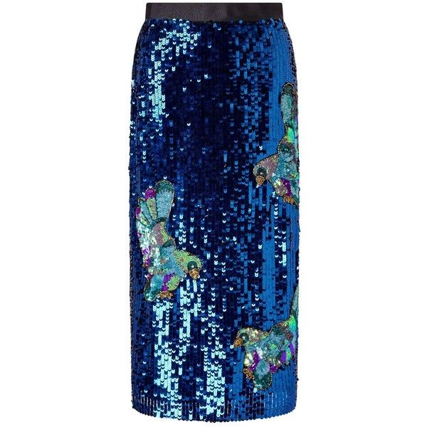 Miss Selfridge PREMIUM Sequin Embellished Skirt ($68) ❤ liked on Polyvore featuring skirts, blue, miss selfridge, blue pencil skirt, blue skirts, sequin skirt and pencil skirts
