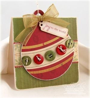 Christmas greeting card. Love the ornament size on this with buttons across!