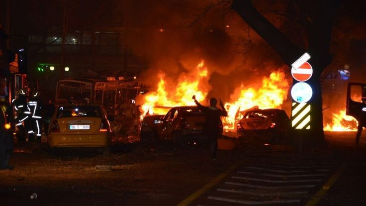 Turkey explosion: Ankara car bomb kills at least 32 3/13/16  A car bomb has exploded in the Kizilay district in the Turkish capital Ankara, with officials saying at least 32 people are dead.