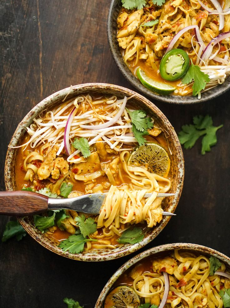 Chicken Khao Soi, a delicious Thai inspired noodle bowl filled with accessible and easy-to-find ingredients.