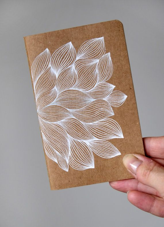 Hand drawn flower on Moleskine Cahier Love this!