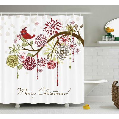 """The Holiday Aisle Christmas Red Bird Floral Tree Shower Curtain Size: 69"""" W x 84"""" L"""