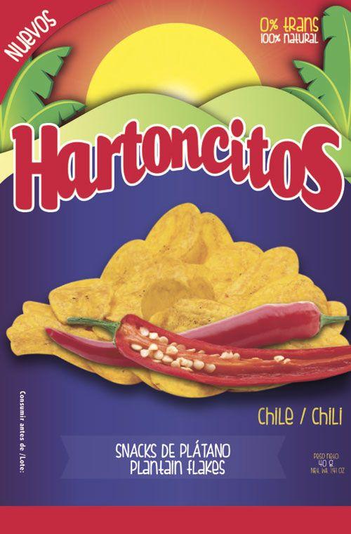 Diseño gráfico de empaque para producto de Snacks. Marca Colsnacks. Submarca Hartoncitos. Hojuleas de plátano con chile