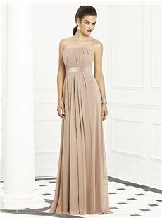 Gold Coast A-Line/Princess Newest Chiffon Strapless Sleeveless Pleats Floor-Length Bridesmaid Dress