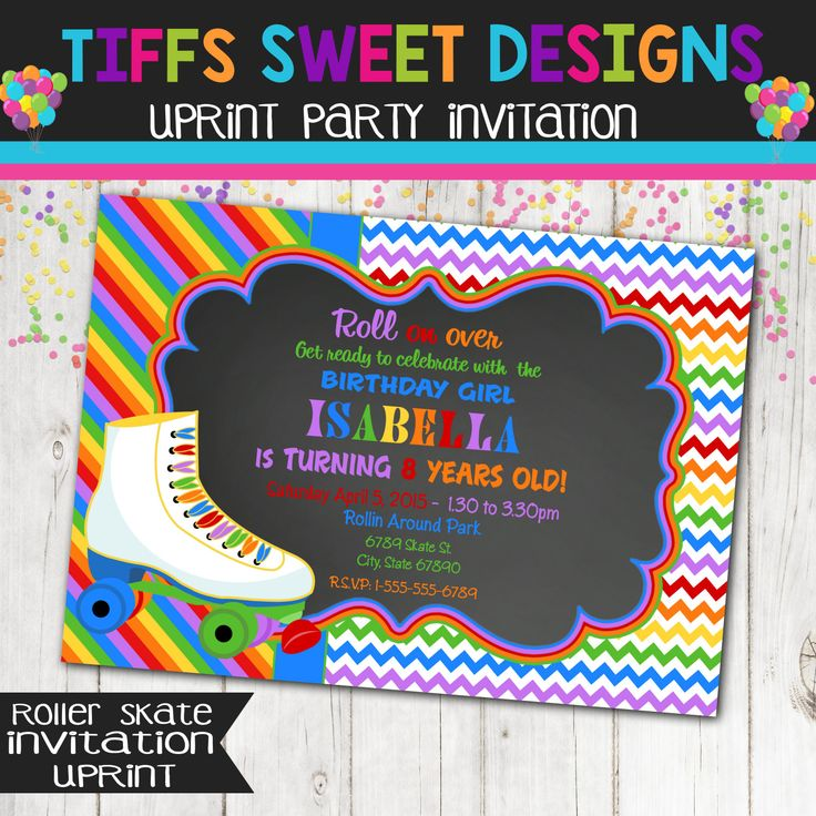 Rainbow Roller Skate Party Roller Skate by TiffsSweetDesigns