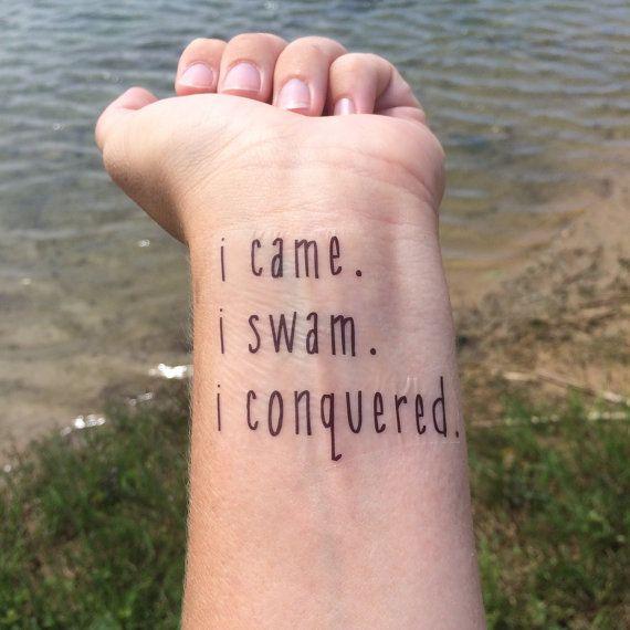 I Came I Swam I Conquered Swimming Tattoo by WhiteRabbitsDesign