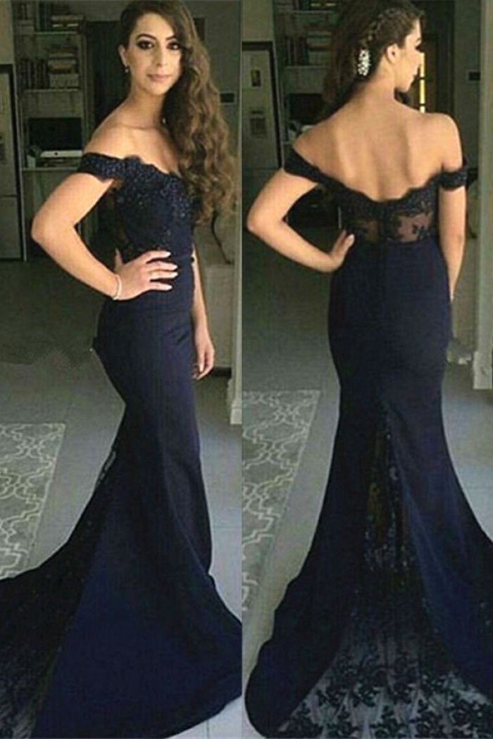 f82ccf6e9efcd Mermaid Off-the-Shoulder Light Gray Lace Prom Dress with Appliques ...