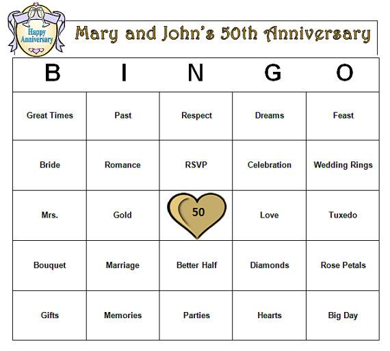 Personalized th anniversary party bingo game golden