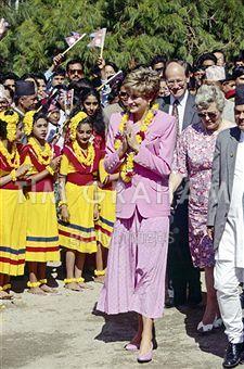 February, 1992: Princess Diana at the Leprosy Hospital, Nepal, India.