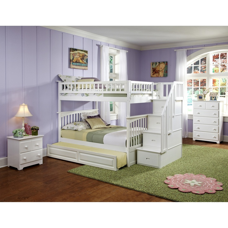 Columbia Staircase Bunk Bed Full Over Full, Raised Panel Trundle Bed