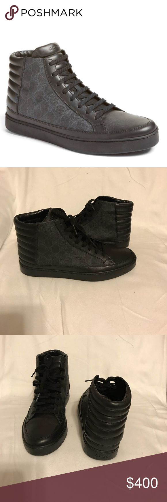 Like new! Gucci High top sneaker Like new! Gucci 'common' high top sneaker. Removable insole. Worn twice. True to size. Price is negotiable. Taking offers thru offer button. No trades. 100% authentic. Gucci Shoes Sneakers #hightopsneakers