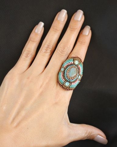Labradorite & Pacific Opal Crystal Beaded Wrap Ring 2