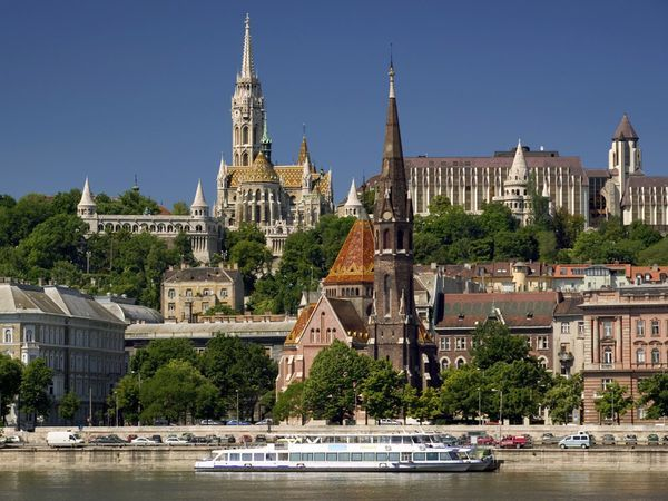 The Legendary Danube river flows past Budapest Castle