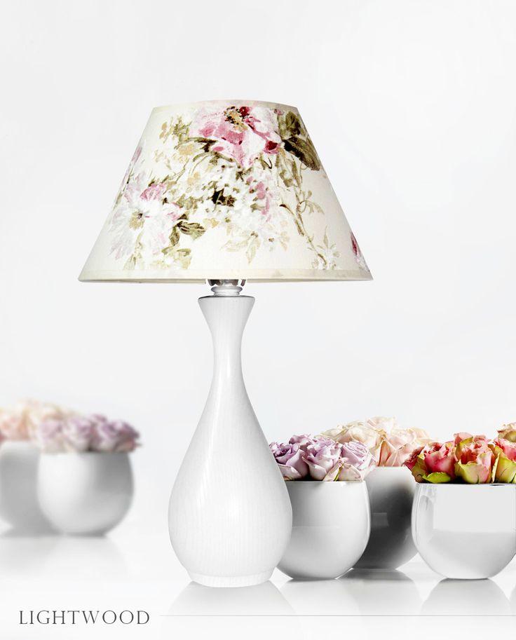 Lampa stojąca biała kwiaty, wazon Lightwood http://lightwoodsklep.com/