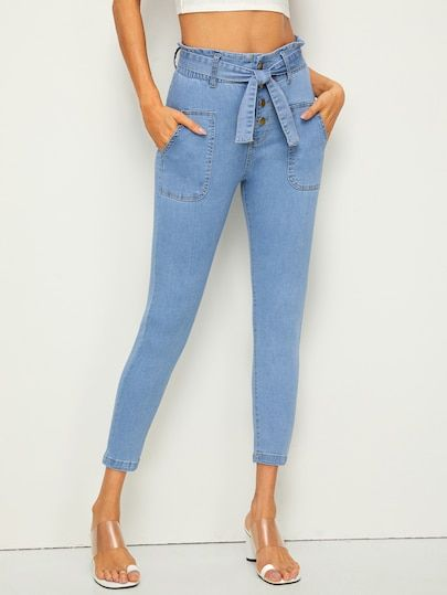 9a35e72f7 Button Fly Belted Skinny Jeans [swpants04190415401] - $40.00 : cuteshopp.com