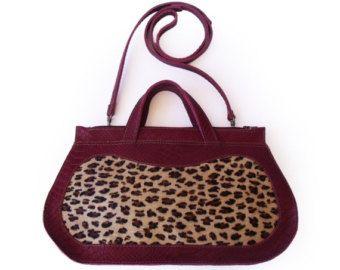Leopard print cow hide purse Burgundy handbag by LiberinaBags