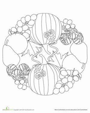 coloring mandalas fruit | Fal Produce Mandala | Worksheet | Education.com